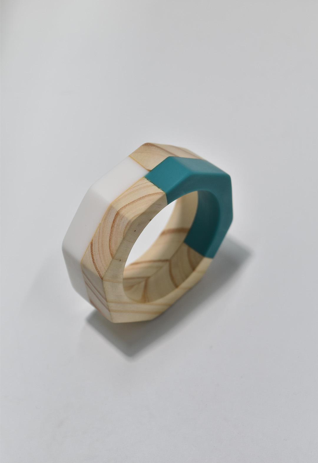 ethical wood bangle Blue