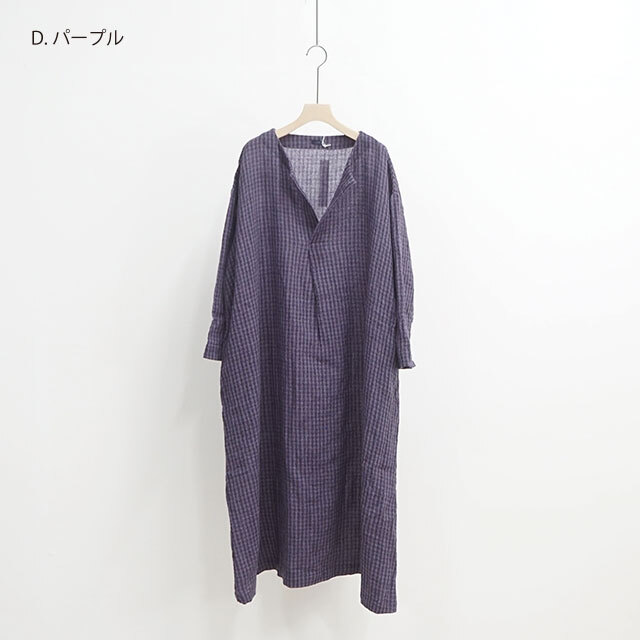 【再入荷なし】 ichi イチ ウールガーゼチェックワンピース (品番190609)