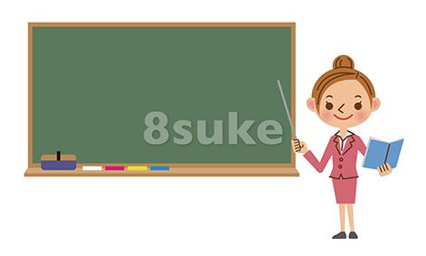 イラスト素材:黒板を使って授業をする先生/女性(ベクター・JPG)