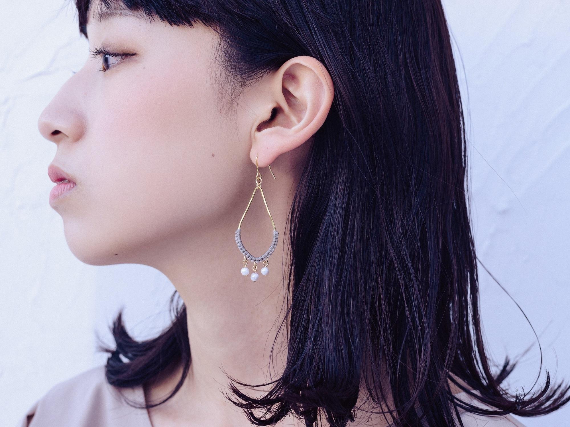 《niruc×KnottWorks》Brass/Pearl Drop Earrings×3colors