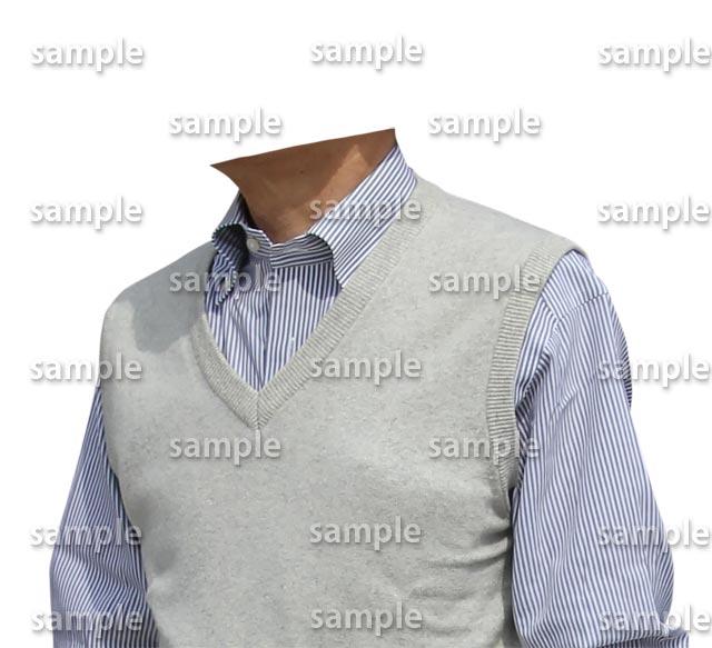 男性白ベスト水色シャツ斜めA