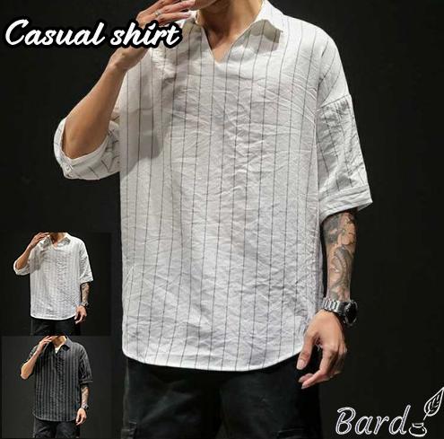 カジュアルシャツ 夏服 メンズ 五分袖シャツ ストライプシャツ トップス プルオーバーシャツ 涼しい おしゃれ