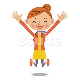 イラスト素材:飛び上がって喜ぶ女性(ベクター・JPG)