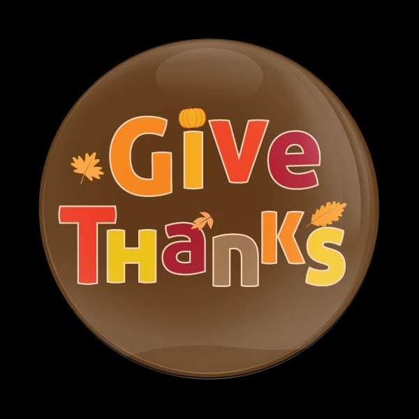 ゴーバッジ(ドーム)(CD0971 - Seasonal Thanksgiving Give Thanks) - 画像1