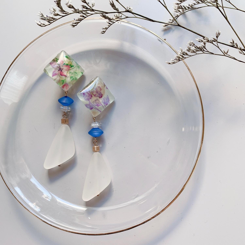 """"""" Earrings NO.danoan-47″ リバティとマットビーズ"""