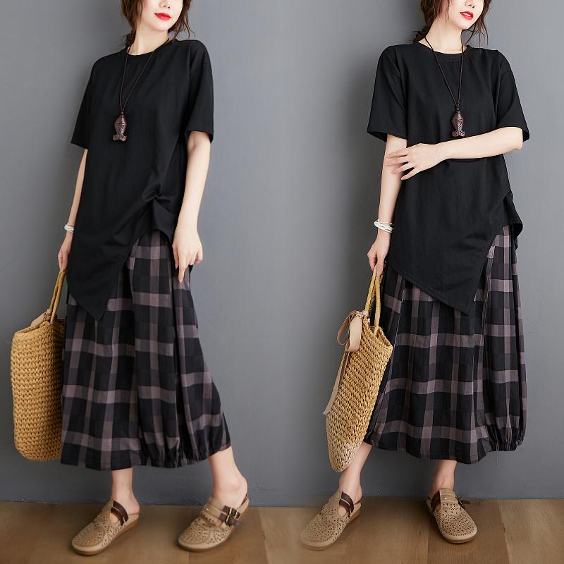 【綿麻生地製品】2点セットアップ Tシャツ 短袖+ロング チエック柄スカート
