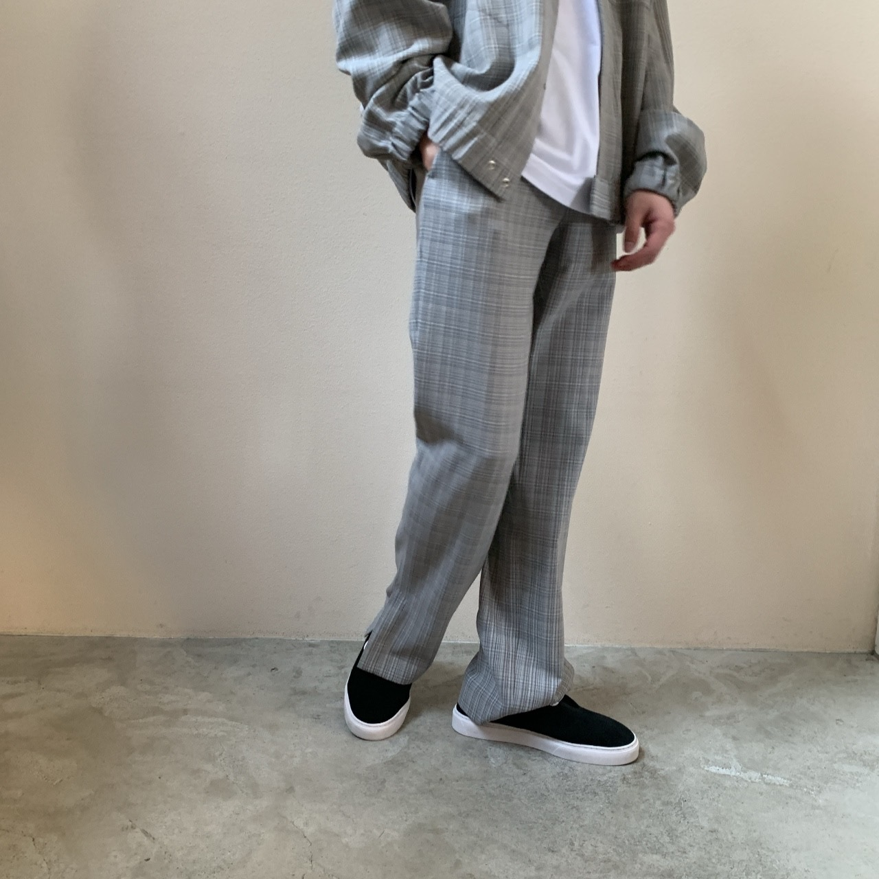 AURALEE MEN - HARD TWIST WOOL DOUBLE FACE CHECK SLACKS