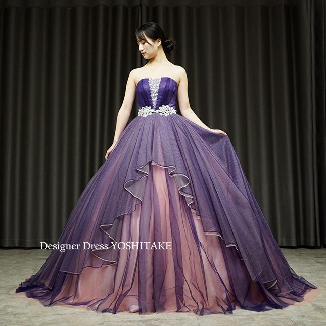 【オーダー制作】ウエディングドレス(無料パニエ) 紫とピンクのクリエイティブなウエディングビジュードレス(パニエ付)披露宴/演奏会※制作期間3週間から6週間