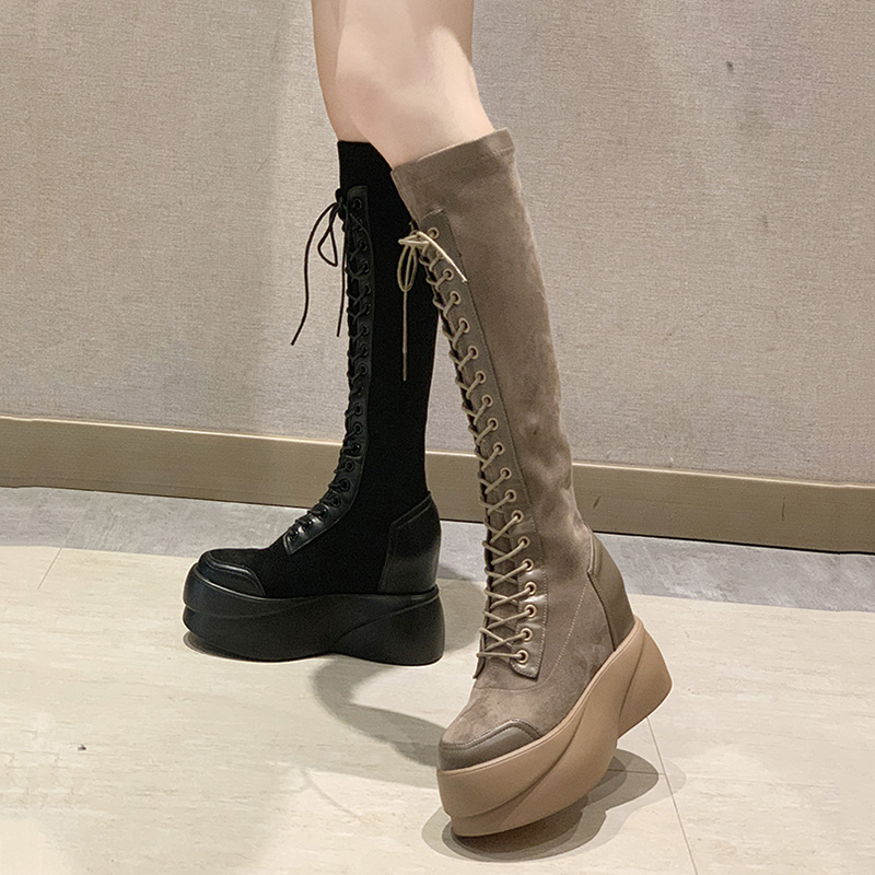 【shoes】高級感切り替え合わせやすいファッションブーツ24592128