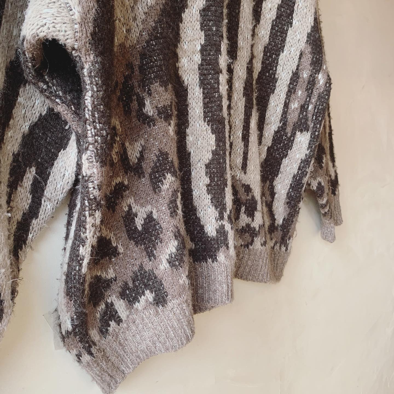 vintage animal design knit sweater