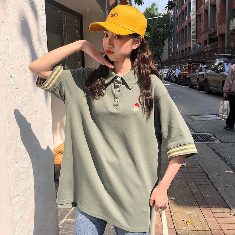 【送料無料】 ビッグシルエットなポロシャツ ♡ カジュアル オーバーサイズ メンズライク 半袖 古着 トップス
