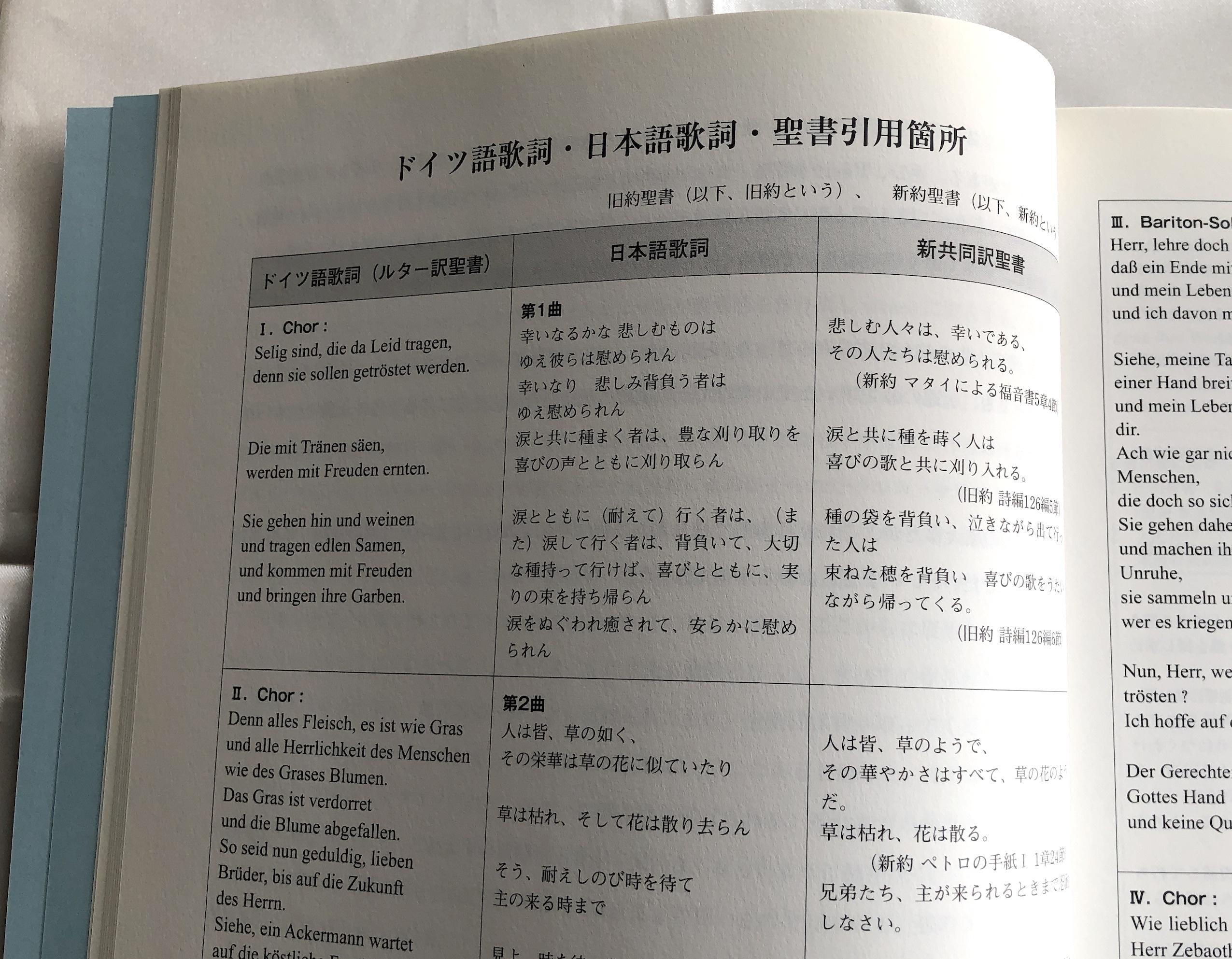 合唱楽譜「ブラームス/ドイツレクイエム」日本語歌詞