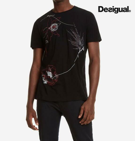 Desigual デシグアル メンズ トップス 半袖 プリント Tシャツ 花柄刺繍入りTシャツ CARL【正規取扱店】