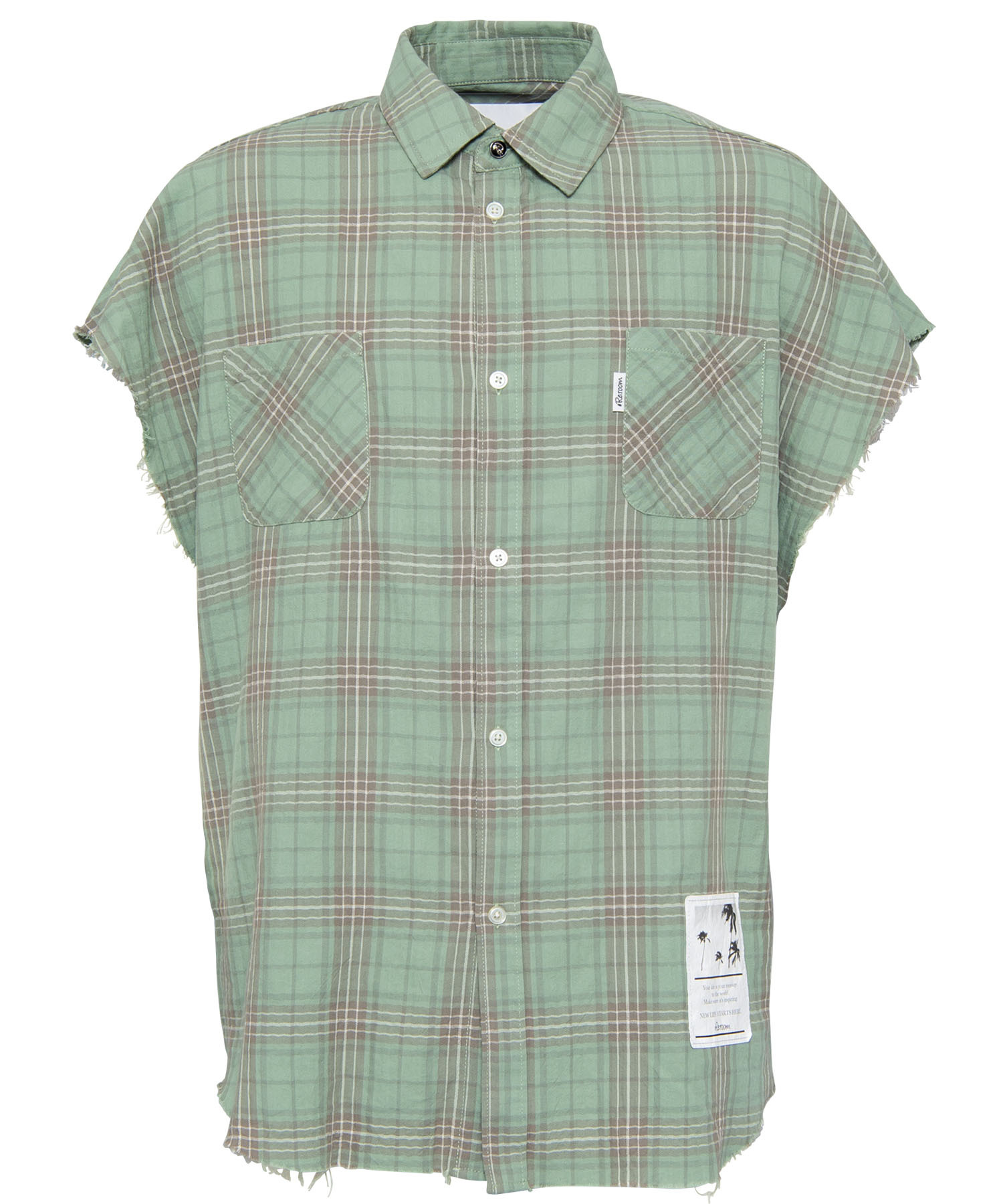 NO SLEEVE WASHED CHECK SHIRTS[RES037]