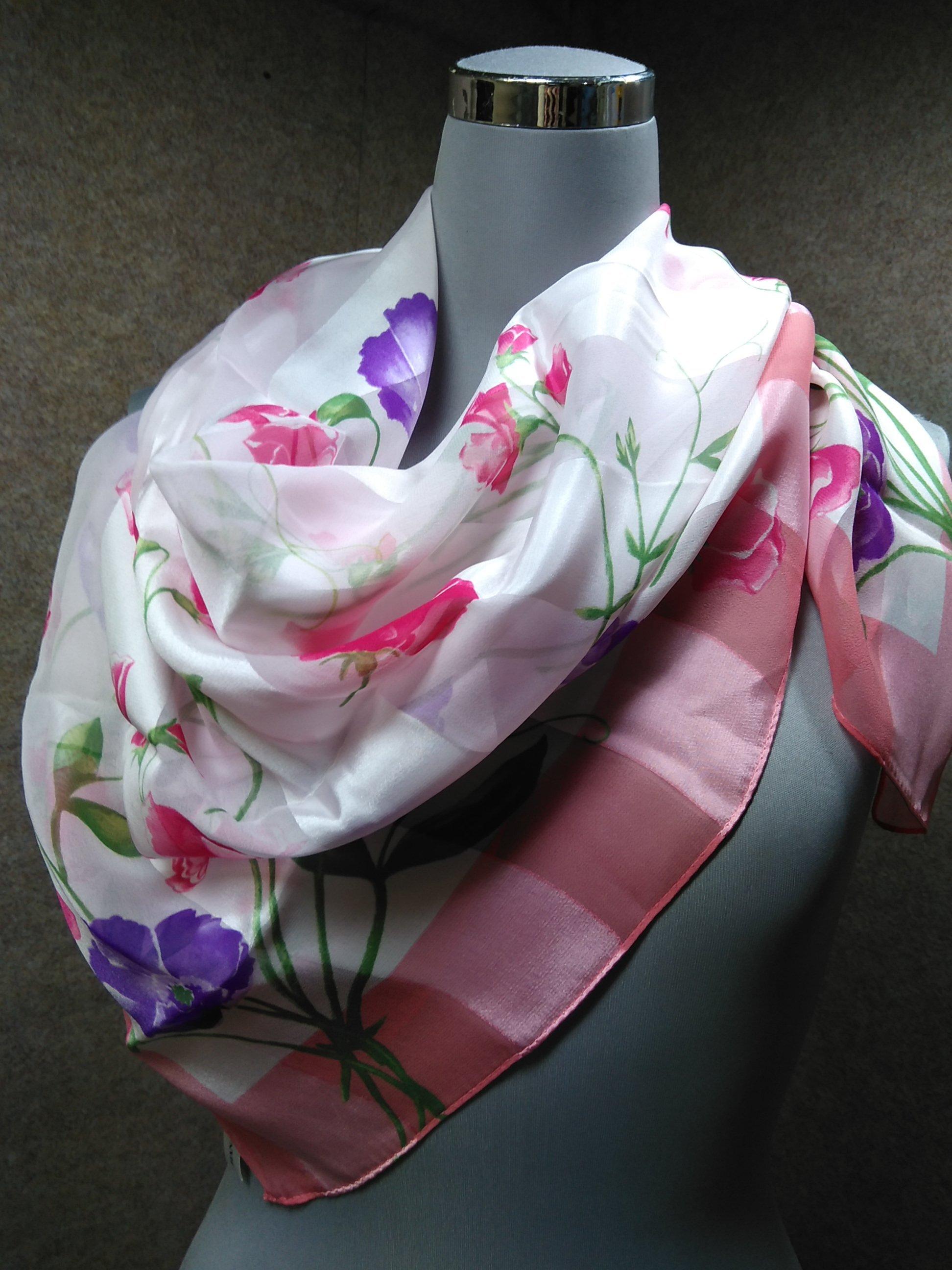 ハナエモリ スカーフ シルク 絹 花柄 ピンク系 mu910e