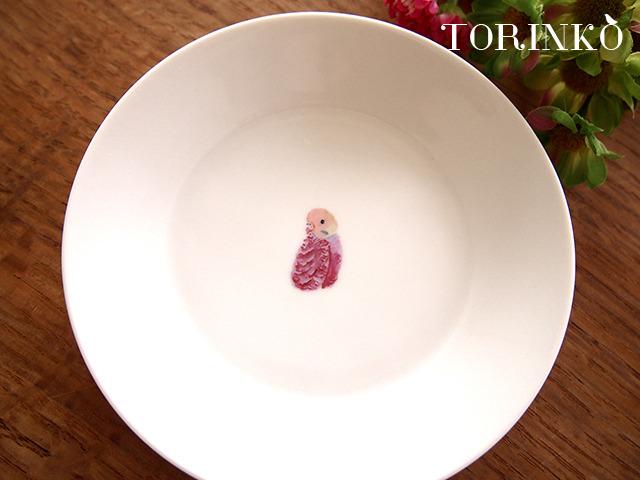 セキセイインコ ピンク(横向き) お皿 中サイズ