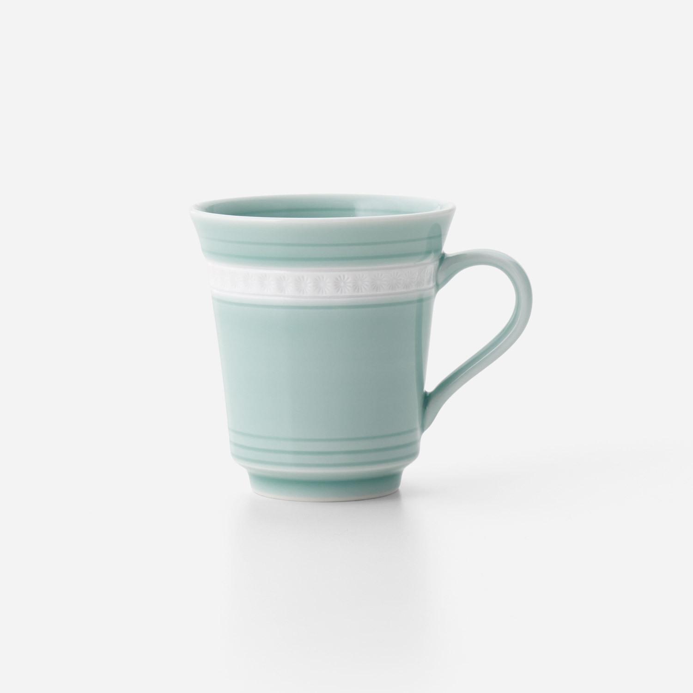 青磁印花 マグカップ