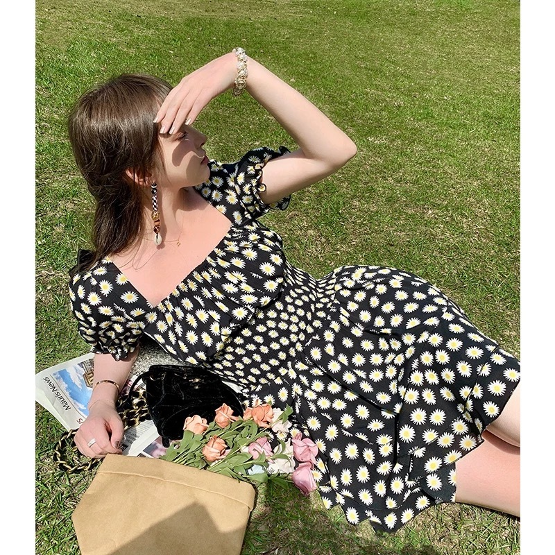 square neck flower dress