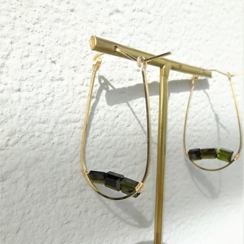 送料無料14kgf*宝石質Tourmaline AAAA drop hoop pierced earring GR