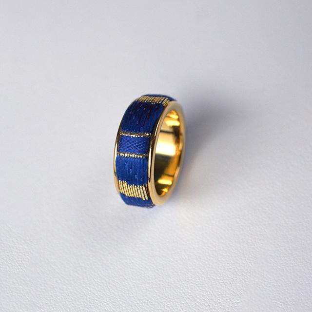 西陣織「金襴」リング(14-15号)ブルー×ゴールド