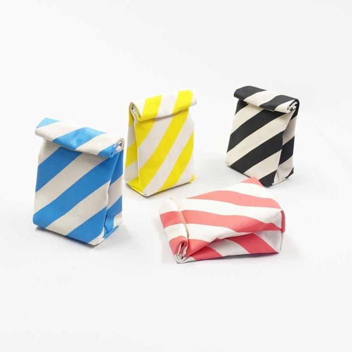 OYATSU bag / stripe / black, vermilion, sky, dandelion オヤツバッグ / 縞 /墨・朱・空・蒲公英