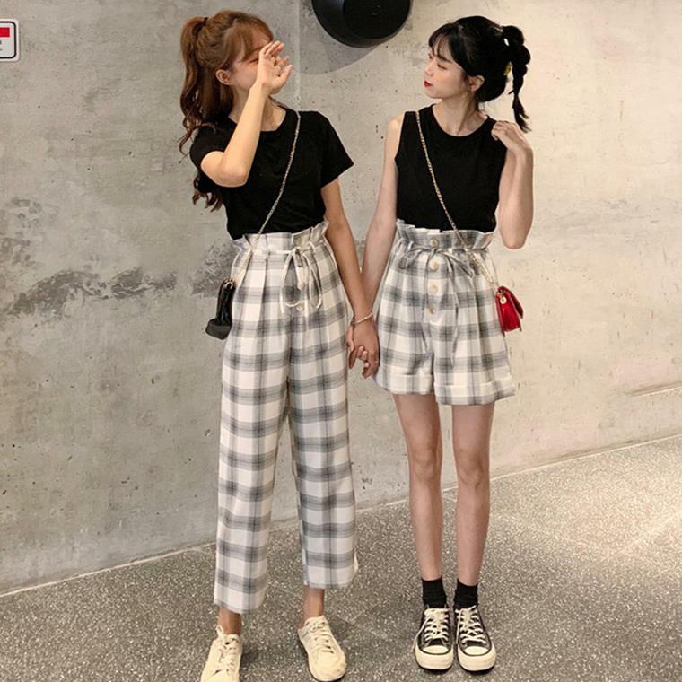【送料無料】 選べる2パターン ♡ 2点セット セットアップ 無地 チェック柄 Tシャツ × パンツ ノースリーブ × ショートパンツ