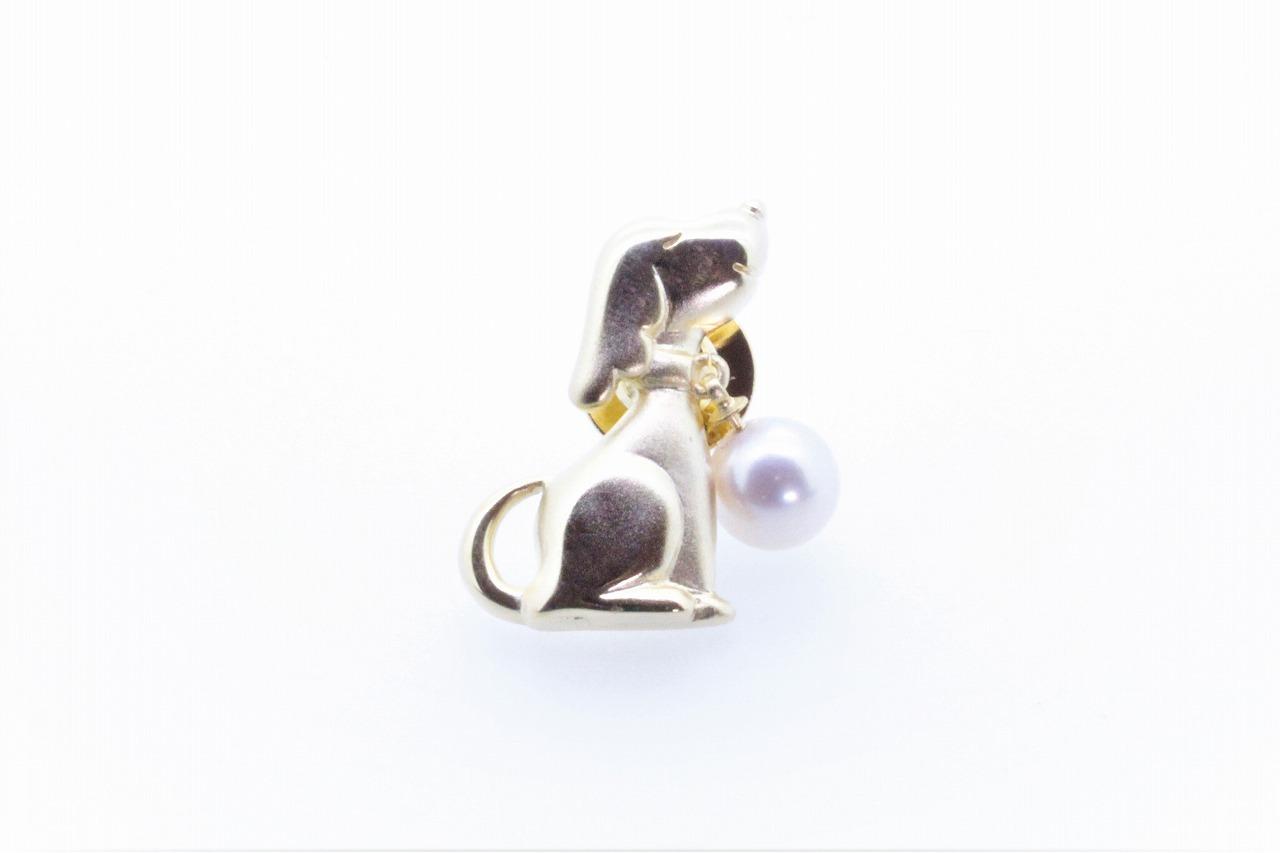 アコヤ真珠 ピンブローチ〈ドッグ〉ゴールドカラー