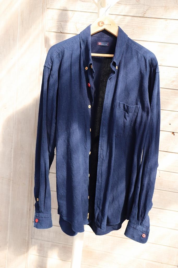 ボタンダウンシャツ(メンズ)SHI 05 藍染濃紺無地