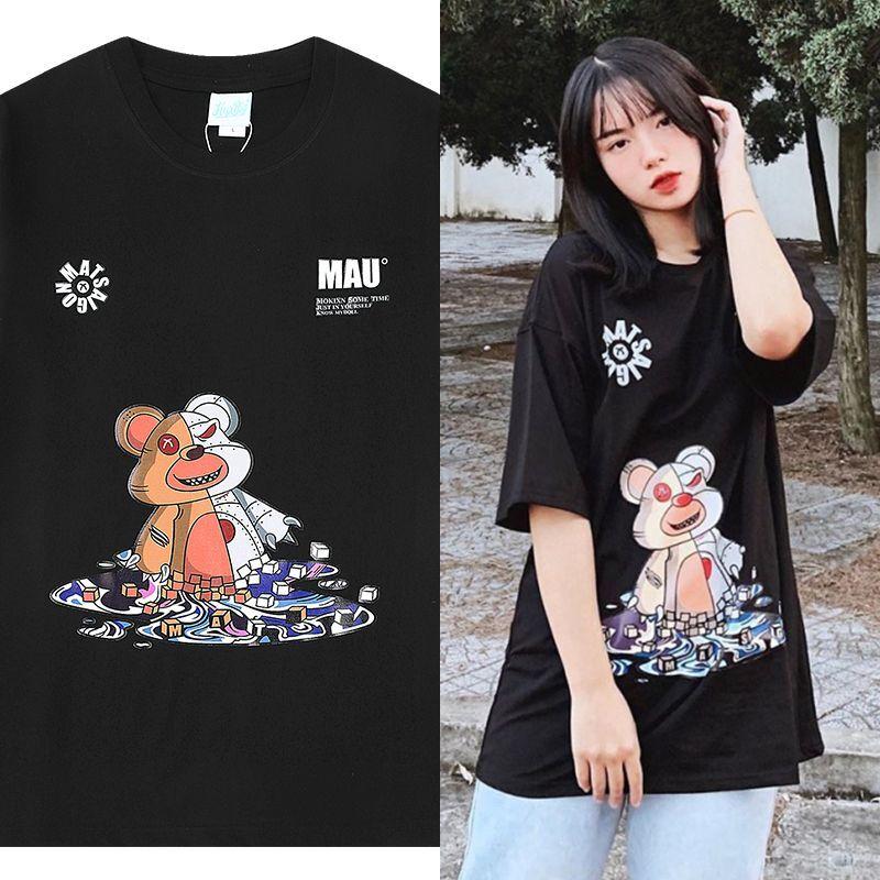ユニセックス 半袖 Tシャツ メンズ レディース サイボーグ クマちゃん プリント オーバーサイズ 大きいサイズ ルーズ ストリート