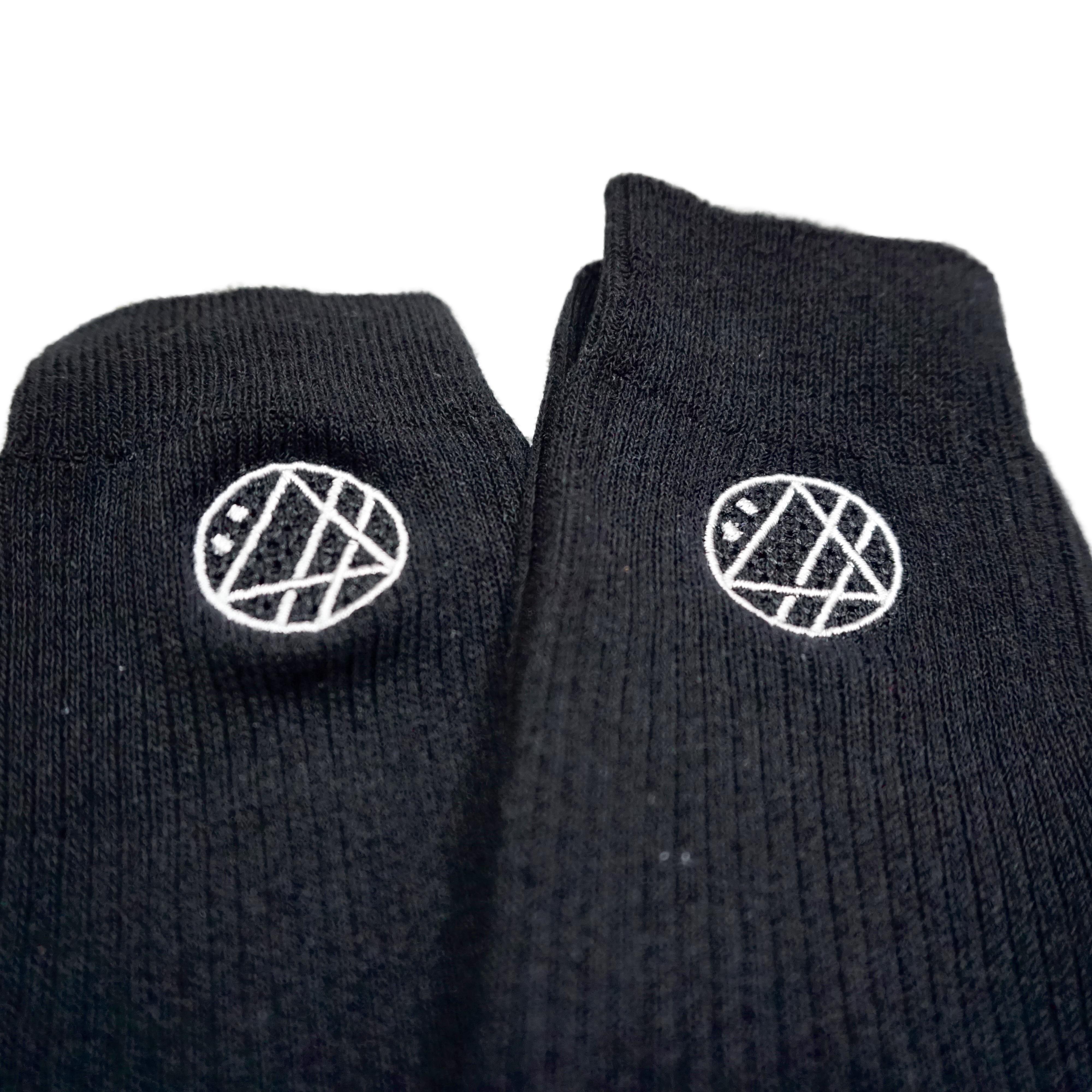 丸ロゴ刺繍ソックス (ブラック) - 画像3