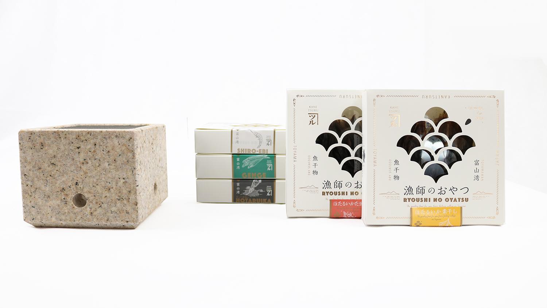 石乃炙り鉢Sサイズ(黄)と「漁師のおやつ」5種セット