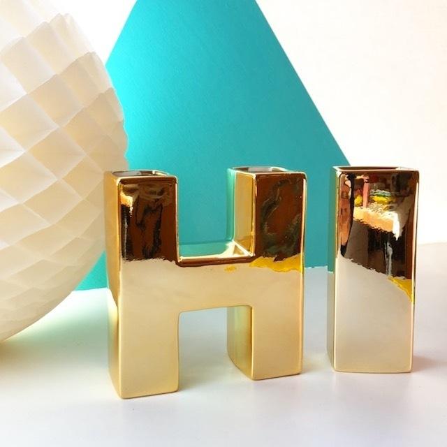 """再入荷!rice セラミックベース""""HI"""" (gold) 花瓶"""