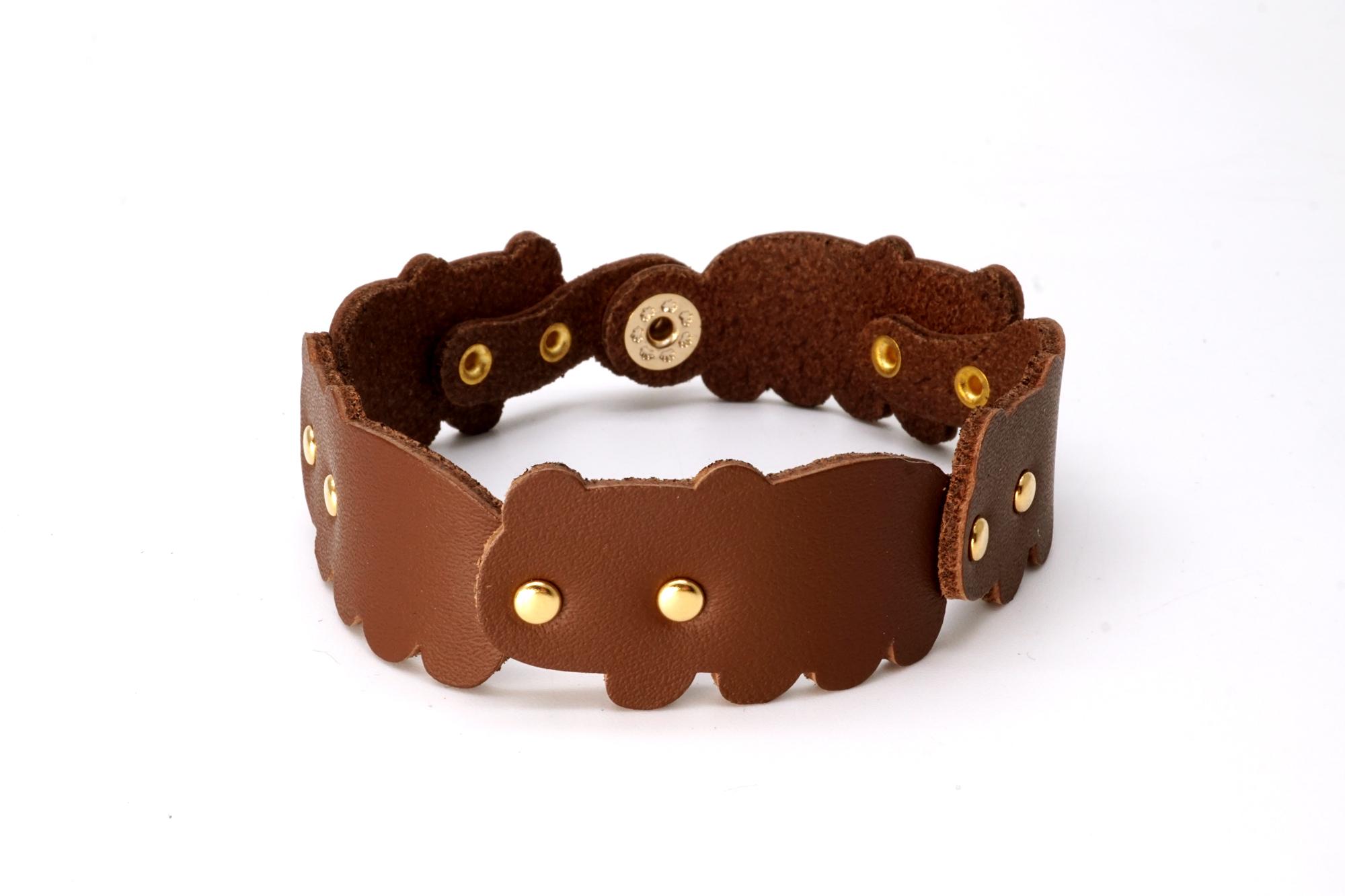 くま連合ブレスレット|茶熊(牛革製)