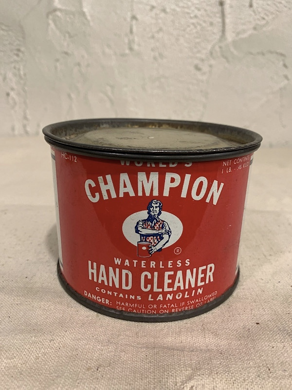 """TIN CANS """" CHAMPION WATERLESS HAND CLEANER """""""