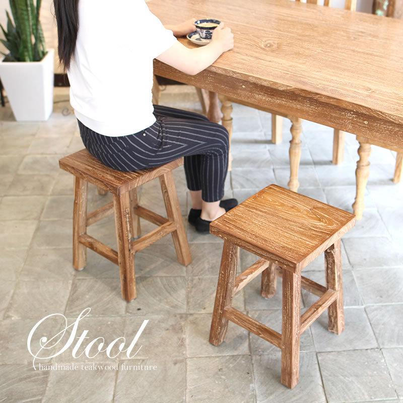 おしゃれな古材を使った四角椅子