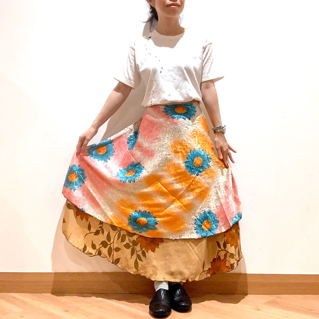 vdsl-083 ビンテージシルクサリー 巻きスカート【シノワレインボウ】