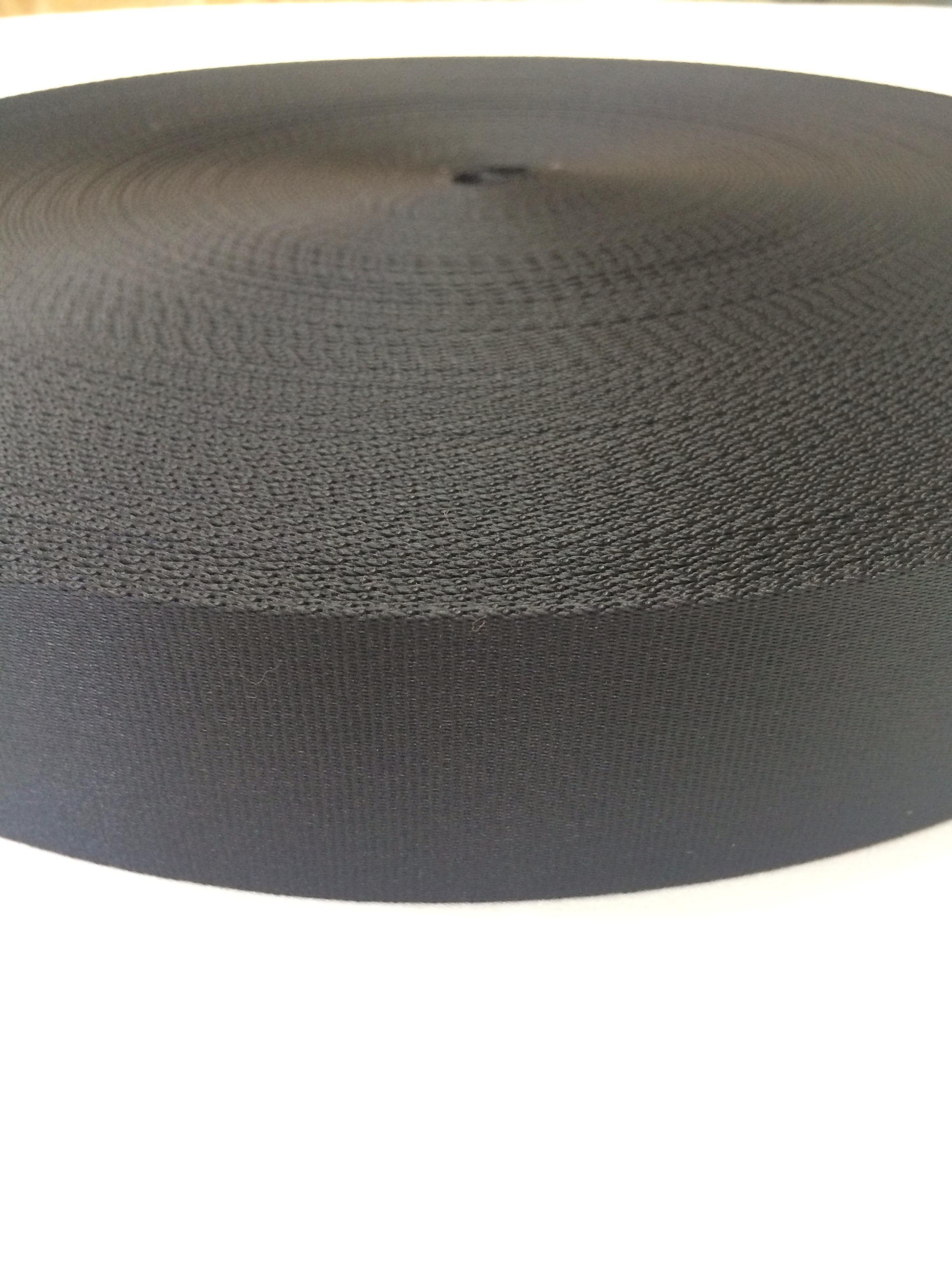ナイロン ベルト テープ 朱子織 厚み薄目 1.1㎜厚  38mm幅 黒 1m