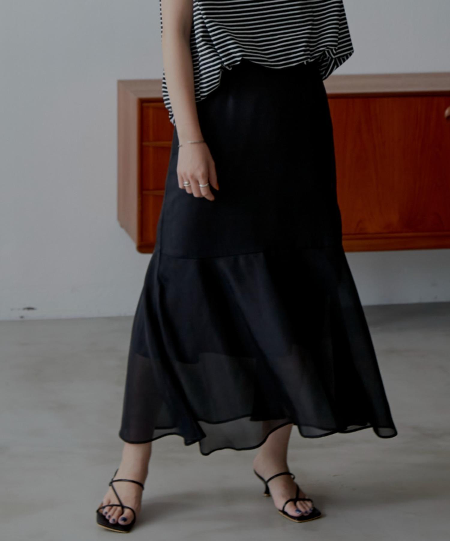 シアーツイルマーメイドスカート/BLK