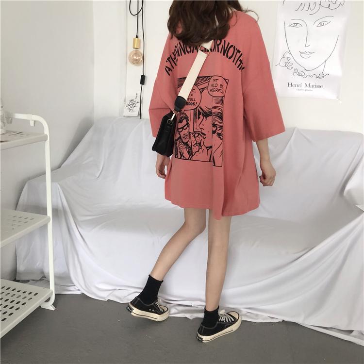 【送料無料】 お洒落プリント♡ ゆるかわ オーバーサイズ アメコミ コミックプリント Tシャツ
