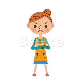イラスト素材:腕組みして怒る真剣な表情の主婦(ベクター・JPG)