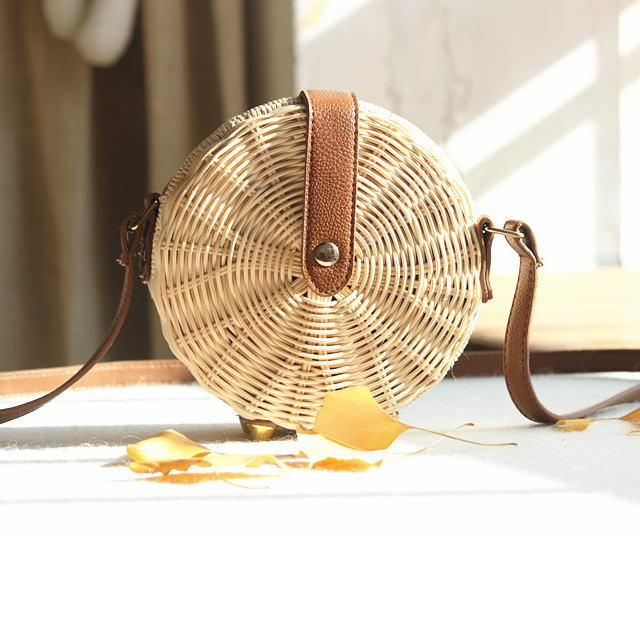可愛い丸型かごバッグ◆サークルラタンミニショルダー