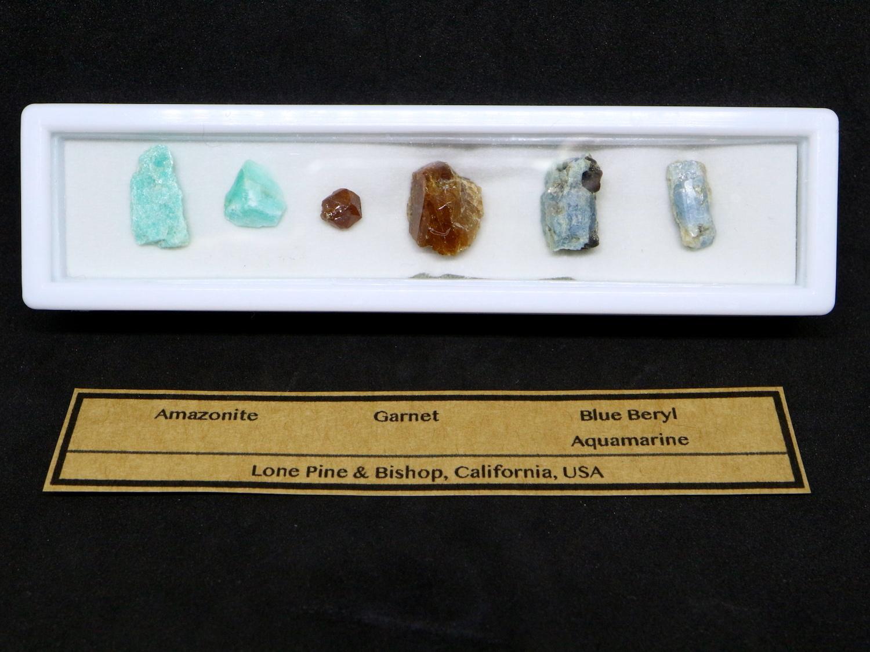 【鉱物標本セット】カリフォルニア産 原石 #1 AQ042 アクアマリン/ガーネット/アマゾナイト