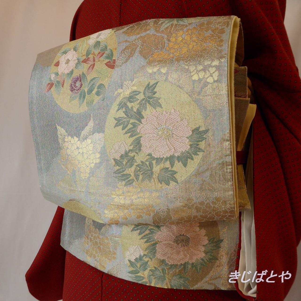 正絹 青白磁に季節の花々の袋帯