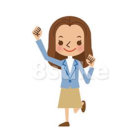イラスト素材:ガッツポーズする若い女性(ベクター・JPG)