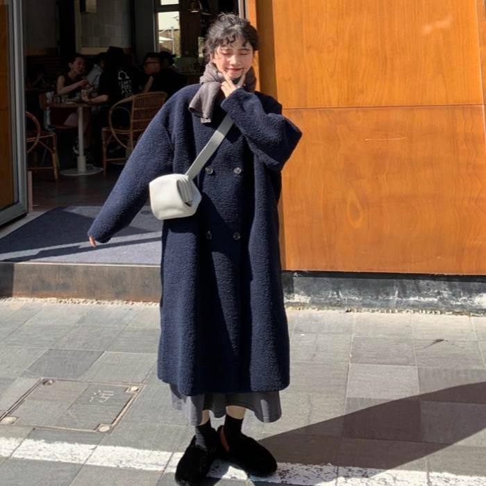 【送料無料】 大人っぽ アウター♡ ノーカラー ダブル ボタン ボア ロング コート シンプル もこもこ 大人可愛い