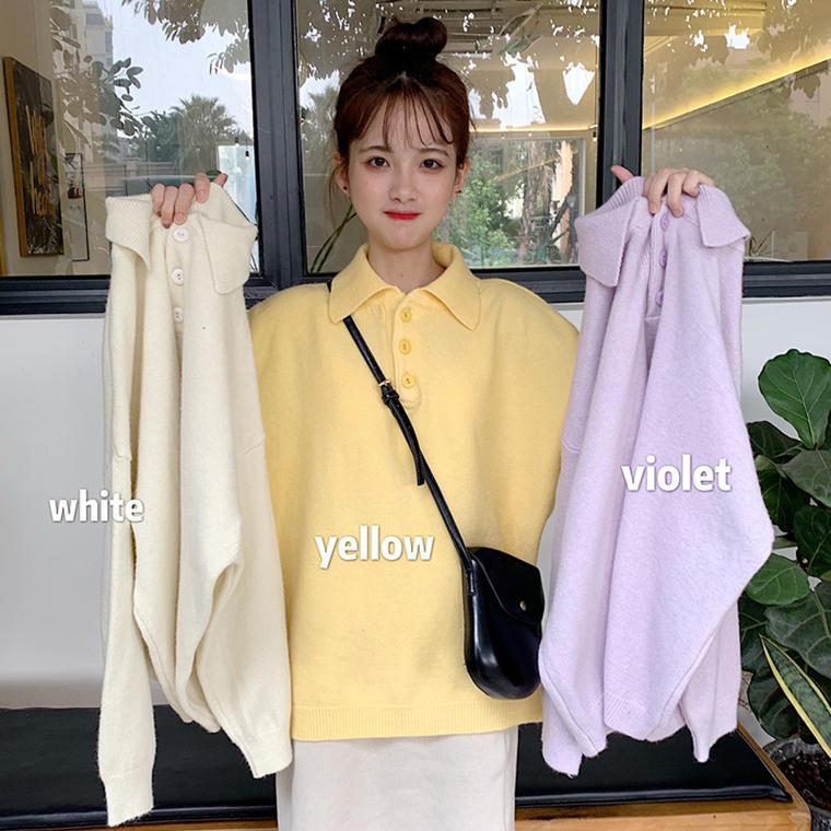 【送料無料 】ニット ポロシャツ ♡ カジュアル オーバーサイズ 襟付き 無地 パステル プルオーバー トップス