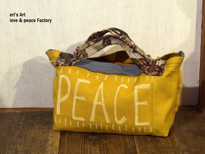 Bag-090 帆布+ゴブラン織り+革 からし