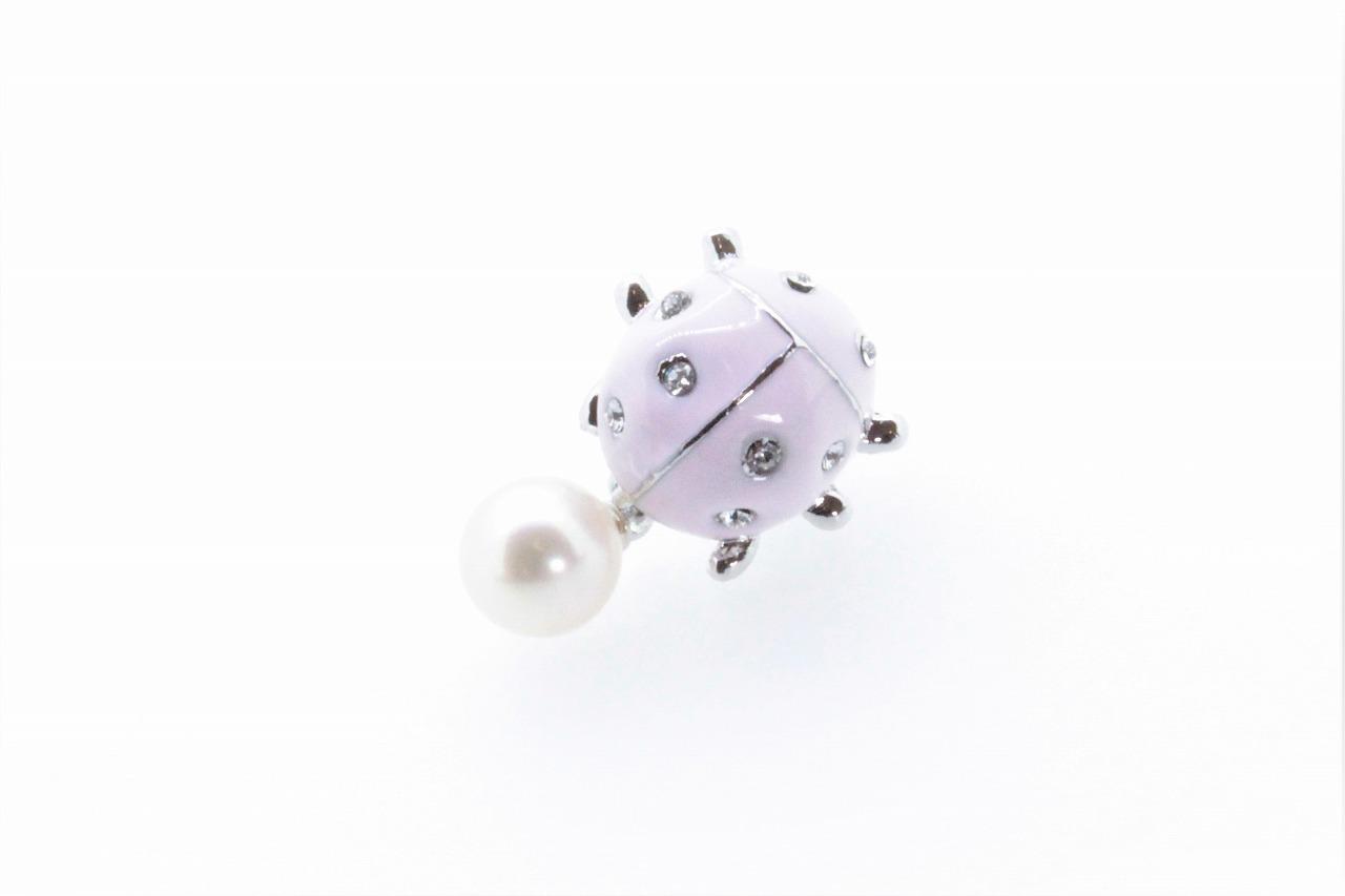 アコヤ真珠 ピンブローチ〈テントウムシ〉ライトピンク