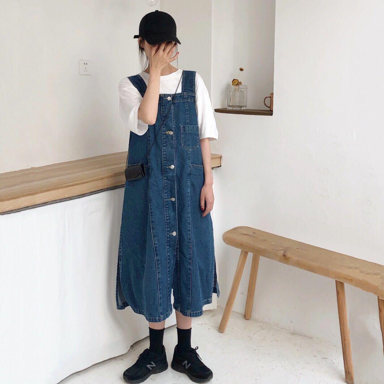 【送料無料】定番カジュアル ♡ 2点セット セットアップ 白Tシャツ × ロング丈 デニム ジャンパースカート ワンピース