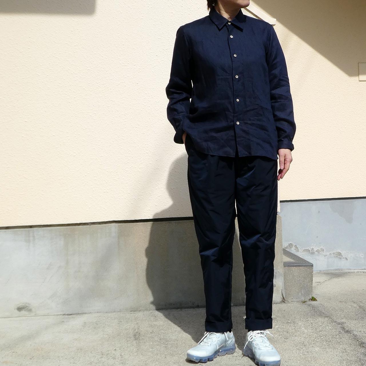 リネンダークネイビーシャツ  narrow